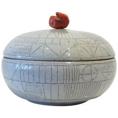 Pale Gray Scribed Lidded Box with Coral Handle by Heather Rosenman