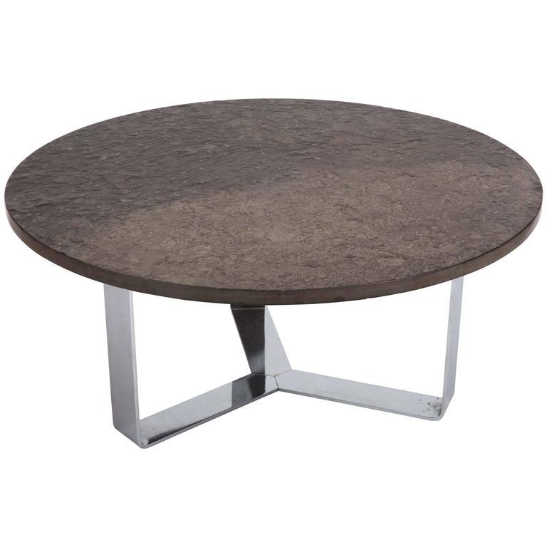 Slate Coffee Table Set On Chrome Base For Sale