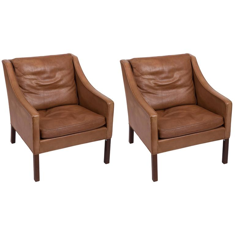 Pair of Børge Mogensen Leather Chairs 1