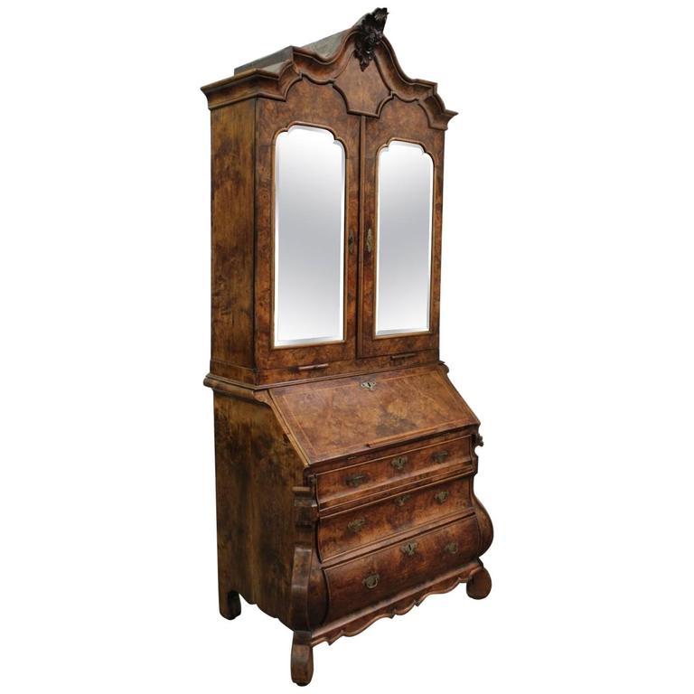 18th Century Dutch Baroque Burl Walnut Secretary Cabinet