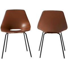 "Pair of ""Tonneau"" Chairs in Leather by Pierre Guariche"