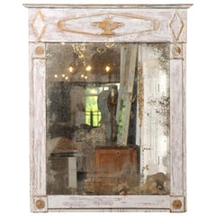 French Period Directoire Trumeau Mirror with Distressed Paint, Late 18th Century