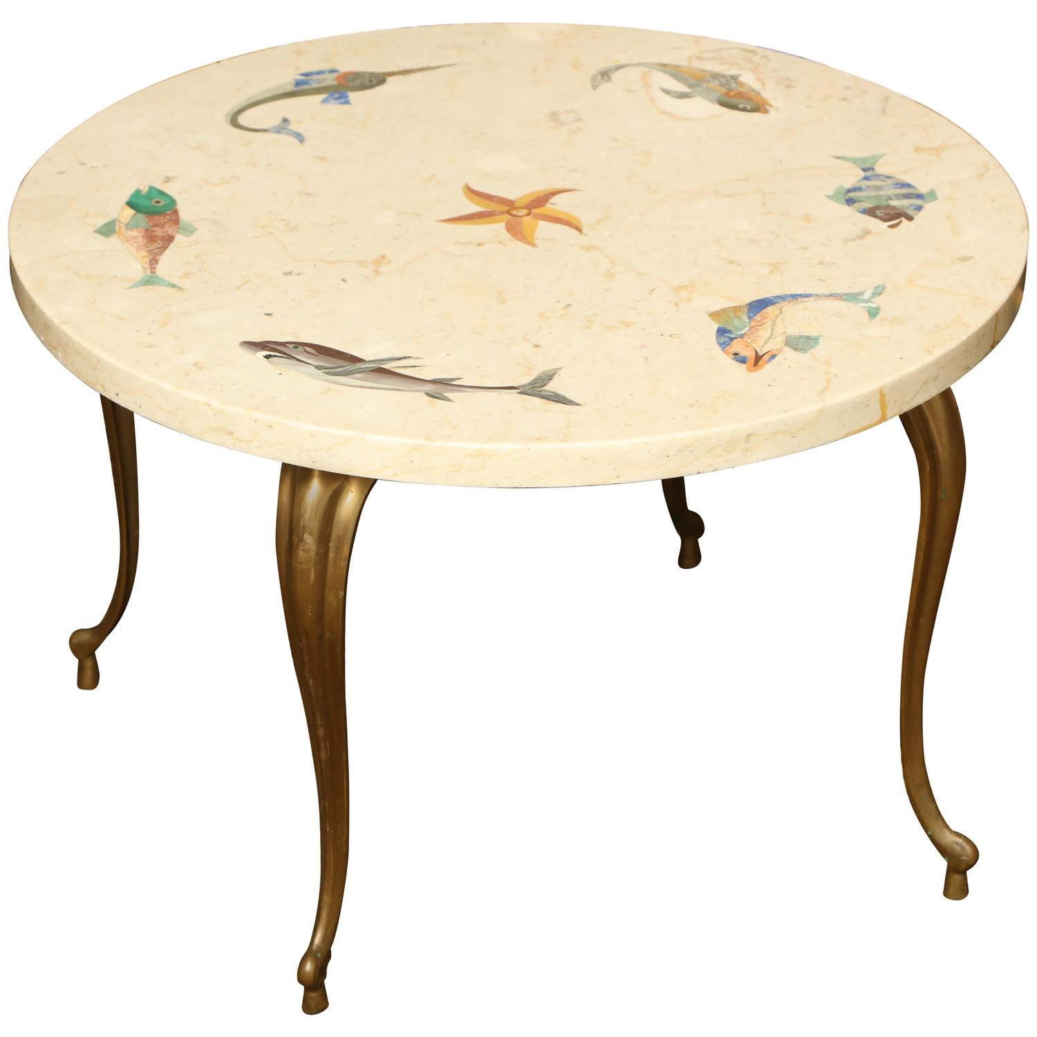 Whimsical Italian 1960s Low Table Inlaid With Marine Life