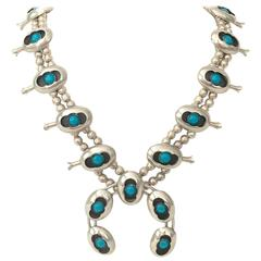 1970's Navajo Sterling and Turquoise Naja Squash Blossom Necklace