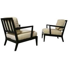 Pair of Classic Ebonized Lounge Chairs