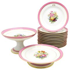 Set of French Pink Floral Dessert Set with 12 Plates and Two Footed Compotes