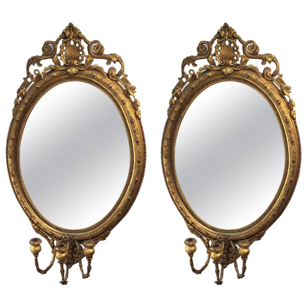 Pair of Louis XV Style Carved and Giltwood Girandole Mirrors
