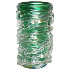 Camozzo Tall Modern Emerald Green Iridescent Murano Glass Vase