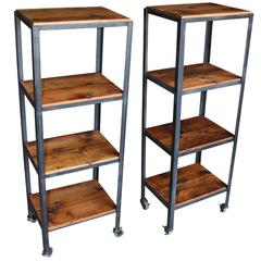 Pair of Small Rolling Shelving Carts Made with Reclaimed Wooden Floor Joists