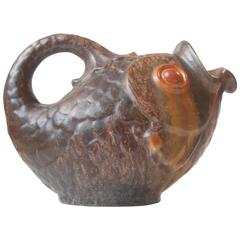Large Fish-Shaped Ceramic Pitcher by Michael Andersen & Son, Denmark, circa 1940