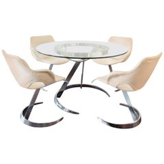 Full Original Dining Set by Boris Tabacoff for MMM, France, Early 1970s