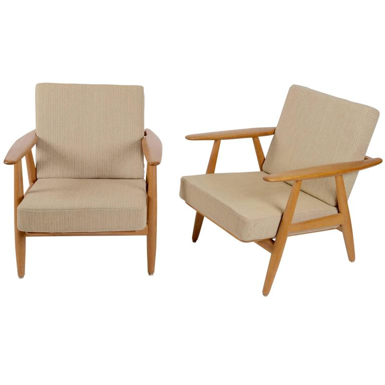 "Hans J. Wegner, Pair of GE-240 ""Cigar"" Lounge Chairs for GETAMA"