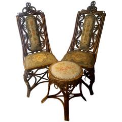 19th Century Black Forest Style, Pair of Large Chairs and Stool with Tapestry