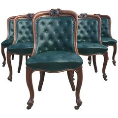 Antique Dining Library Chairs Six Oak Leather, Victorian, 19th Century
