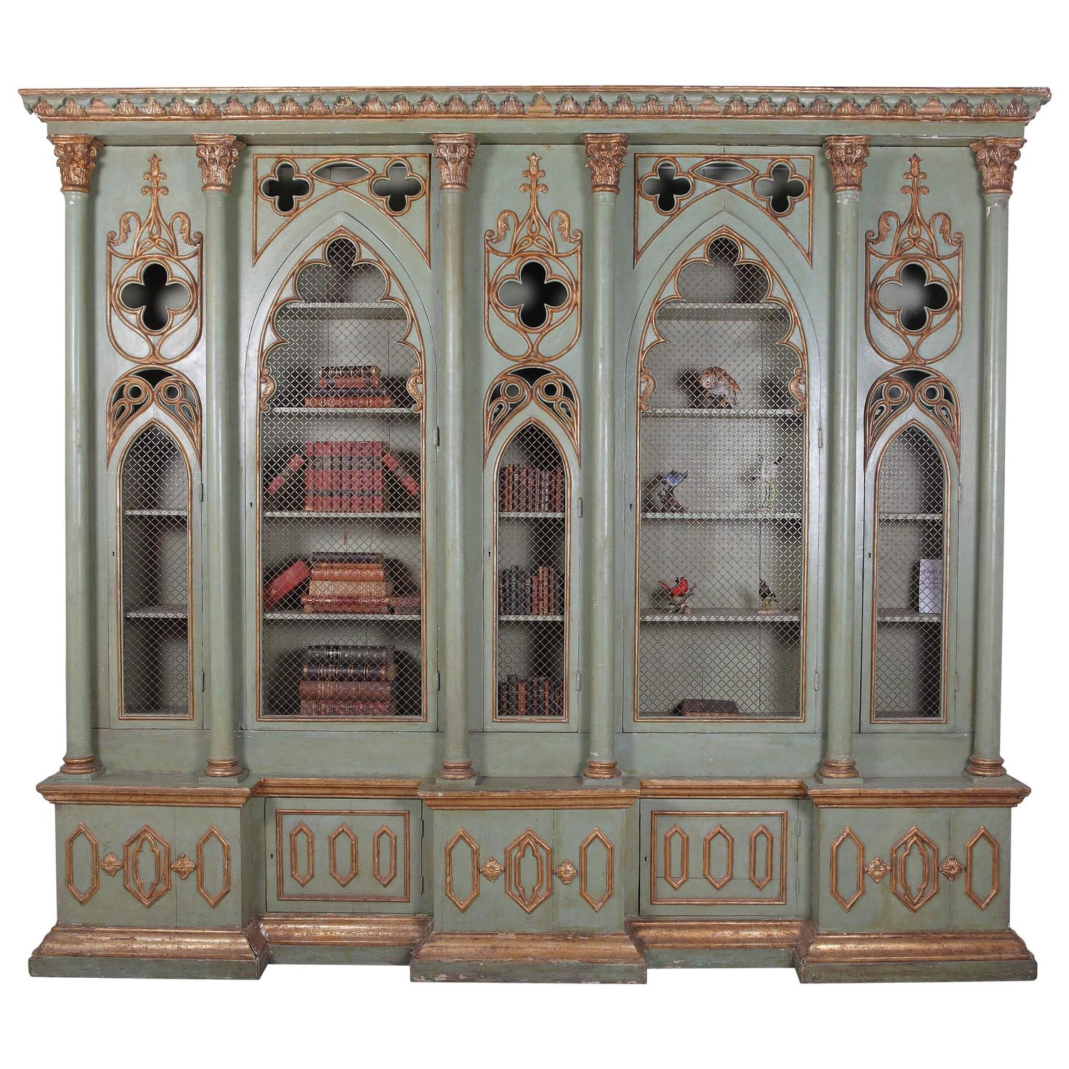 19th Century Antique Italian Gothic Revival Painted And