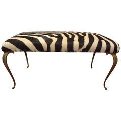 Italian Brass Bench Upholstered in Zebra Hide