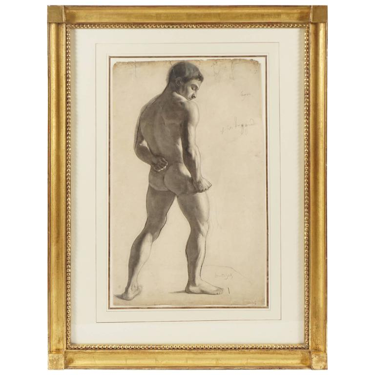Large Charcoal on Paper Drawing of a Male Nude by Lucien Laurent-Gsell