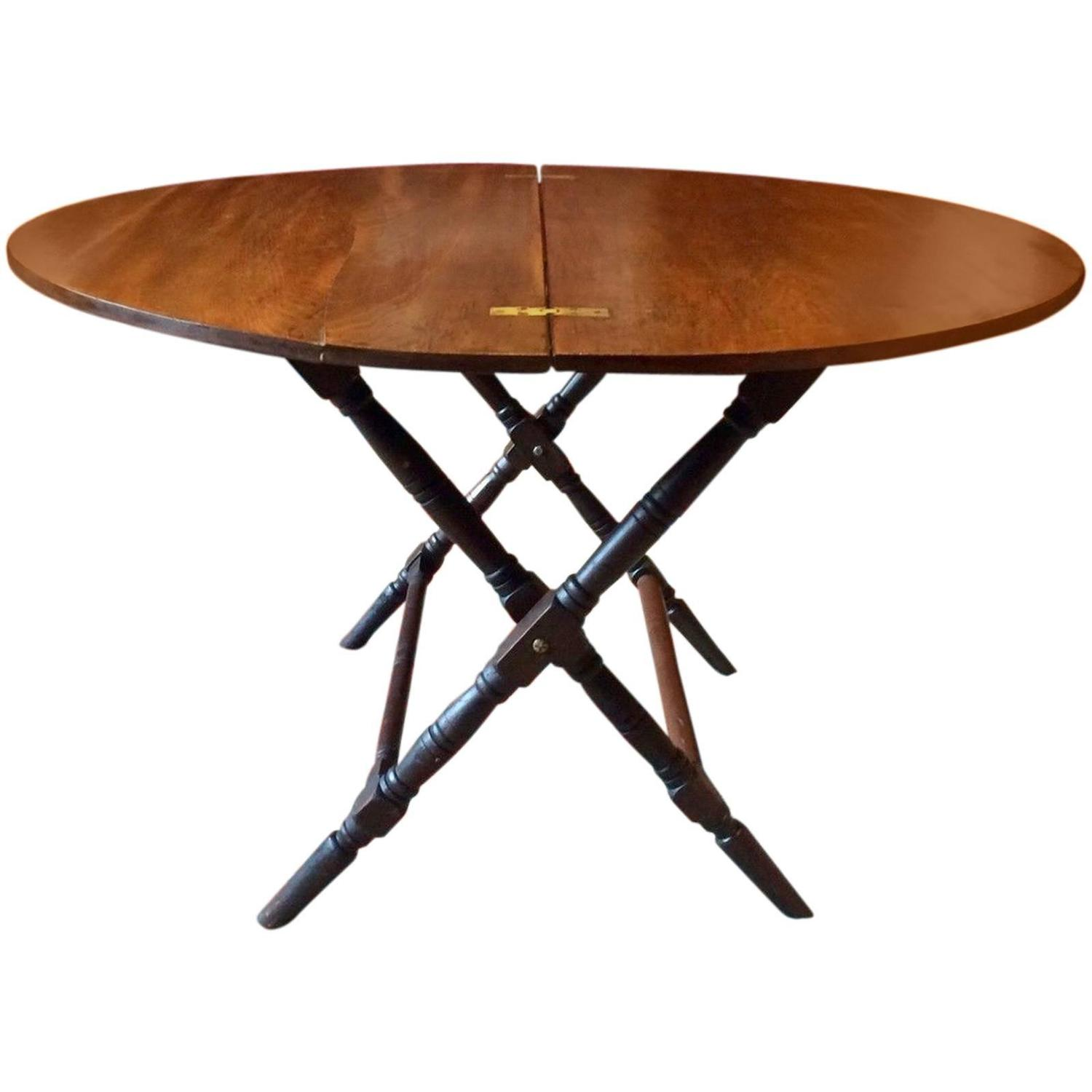 Antique 19th Century Mahogany Folding Campaign Table Thornton and