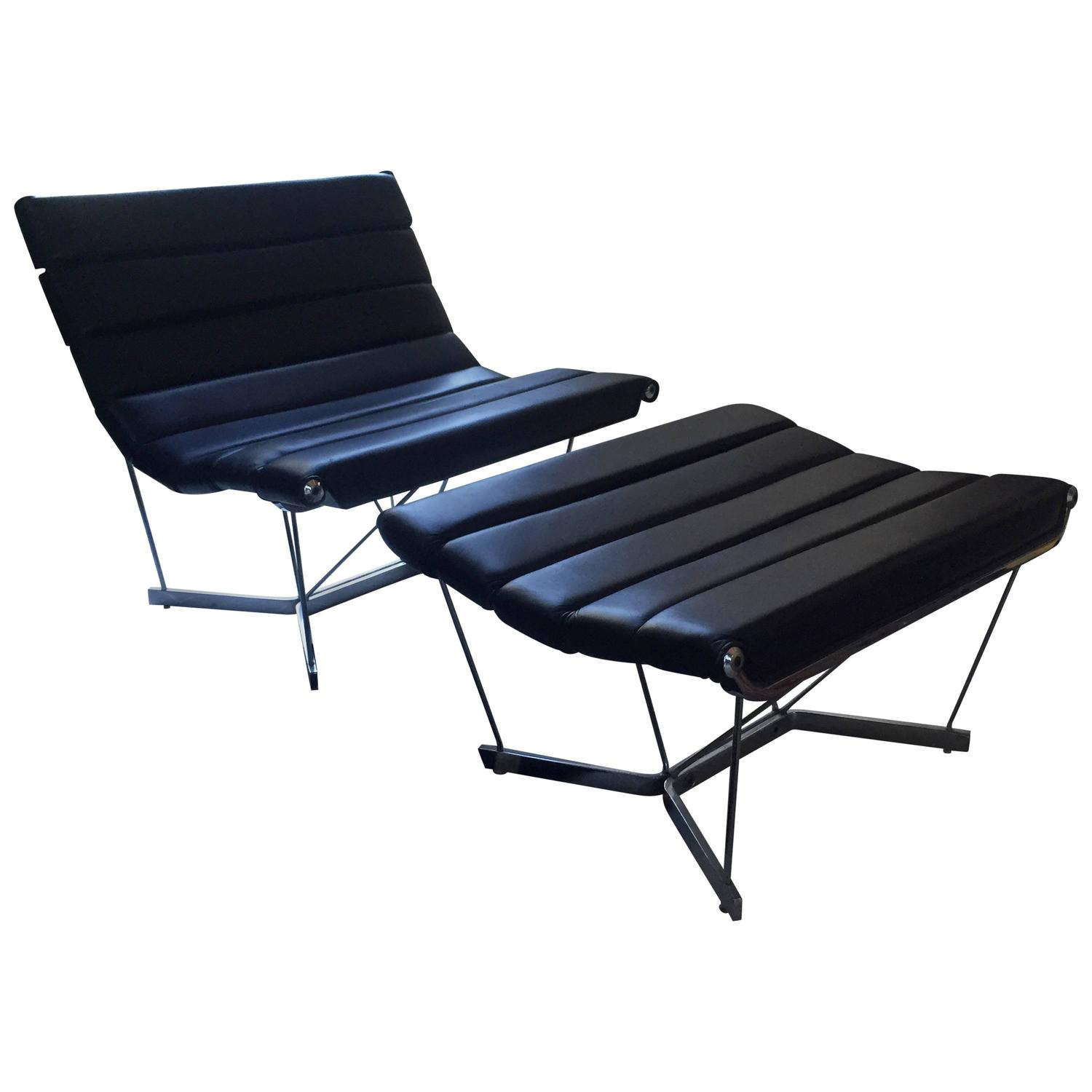 George Nelson 6380 Catenary Chair In Black Leather For Sale At  # Muebles George Nelson