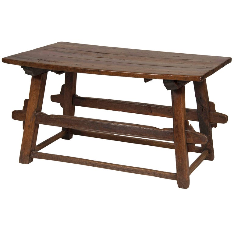 Continental Oak Trestle Table For Sale