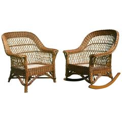 Antique Heywood-Wakefield Bar Harbor Wicker Chair and Rocker Set