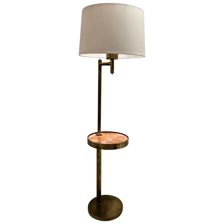 Mid-Century Brass Floor Lamp, with Swivel Cerused Wood Tray Table ...