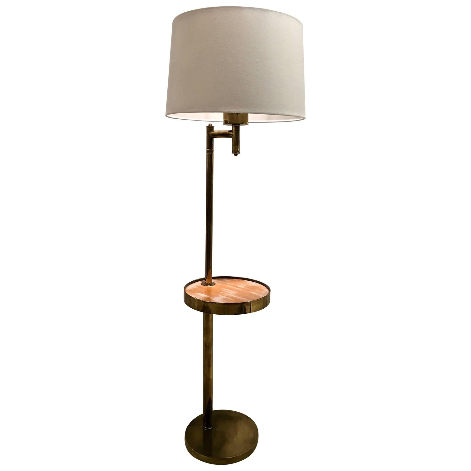 mid century brass floor lamp with swivel cerused wood tray table for sale at. Black Bedroom Furniture Sets. Home Design Ideas