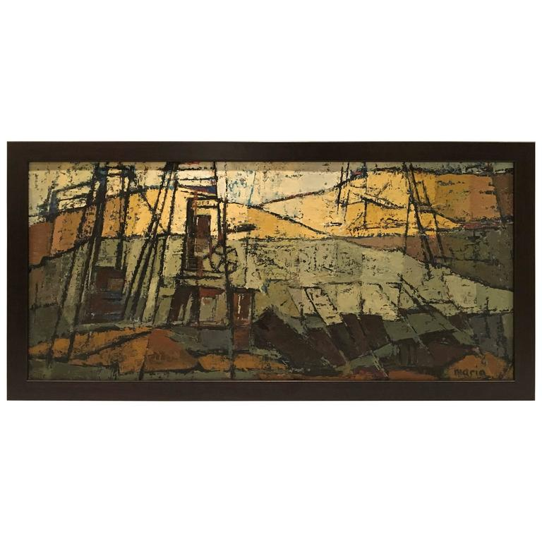 Cubist Modern Abstract Oil on Board Painting, Signed by Artist