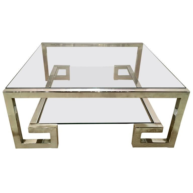 Chrome And Glass Greek Key Coffee Table, Manner Of Milo Baughman 1