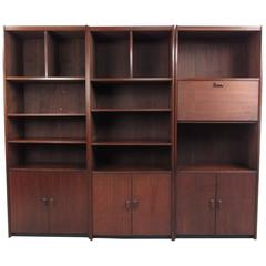 Mid-Century Modern Wall Unit, Vintage Bookcase with Cabinets