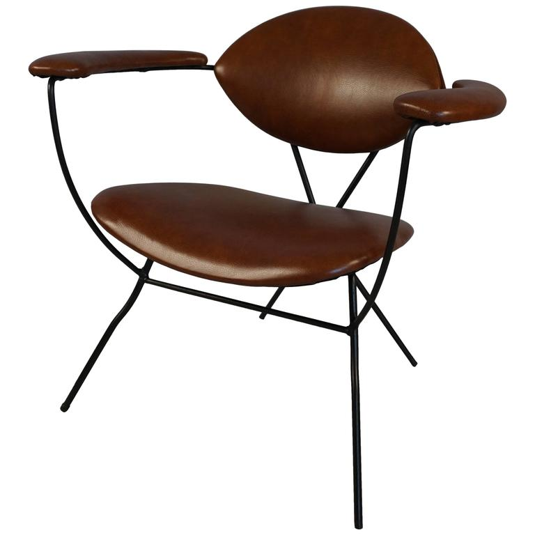 Modern Iron and Leather Chair in the Style of Carlo Hauner 1