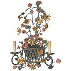 Italian Sconce Lattice Basket of Flowers