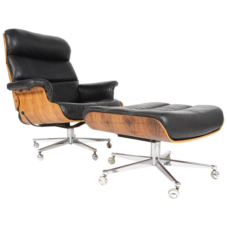 Martin Stoll Rosewood And Leather Swivel Chair With Ottoman 1