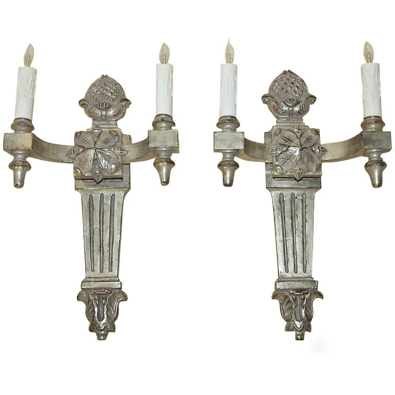 Pair of Paul Ferrante Silver Gilt Carved Wall Sconces