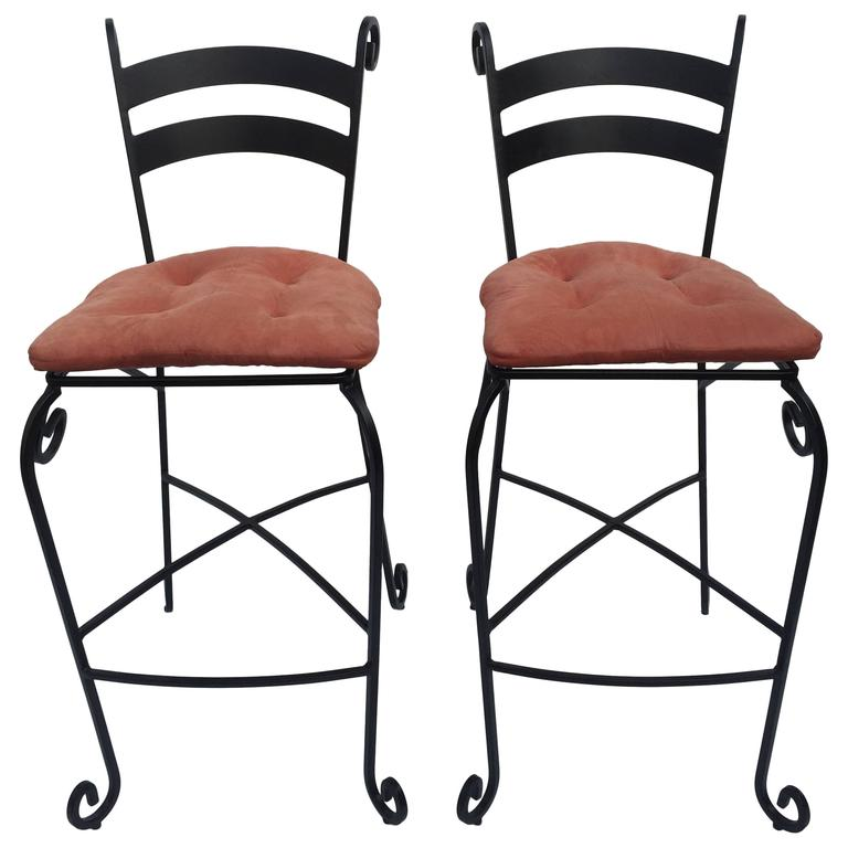 Pair of Tall Wrought Iron Bar Stools