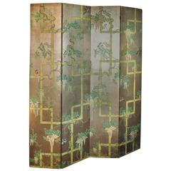 19th Century Four-Panel Painted Screen of Birds and Bamboo