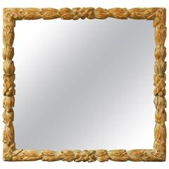 Monumental Hand-Carved Laurel Leaf Mirror