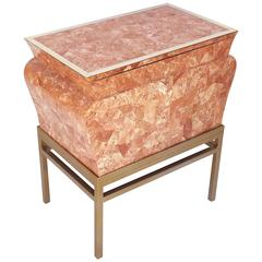 Tessellated Rosso Alicante Marble with Brass Chest Trunck by Maitland Smith