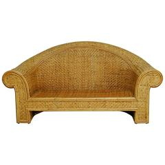 Woven Rattan and Bamboo Settee in the Manner of Ralph Lauren