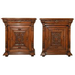 19th Century Pair of French Oak Cupboards