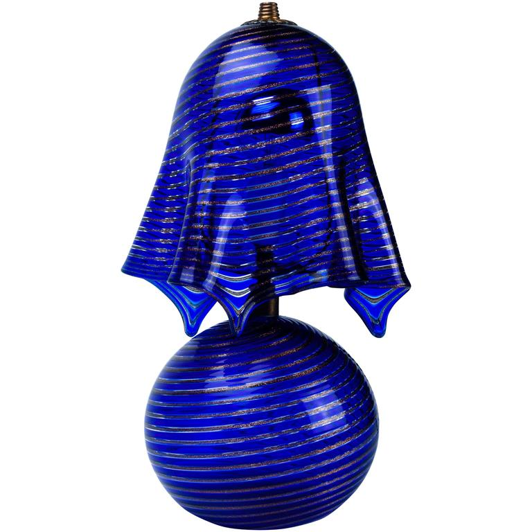 Italian Lamp La Murrina Murano Glass In Blue And Gold Swirl Reticcello,  1970s