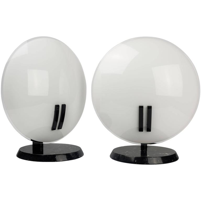 Italian Lamps Perla by Gecchelin for O Luce, Black Marble and White Glass, 1980s