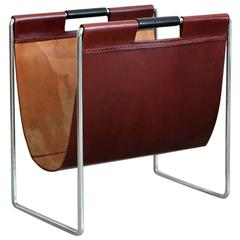 French Cognac Leather and Chrome Magazine Holder