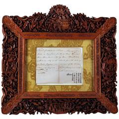 China Trade Canton 1811  Framed Autograph HOUQUA  伍秉鉴; Wu Bingjian,