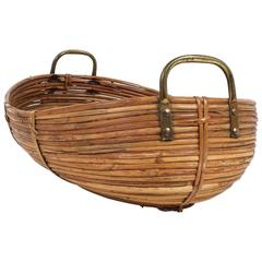 Large Decorative Mid-Century Brass and Rattan Bowl, France, 1950
