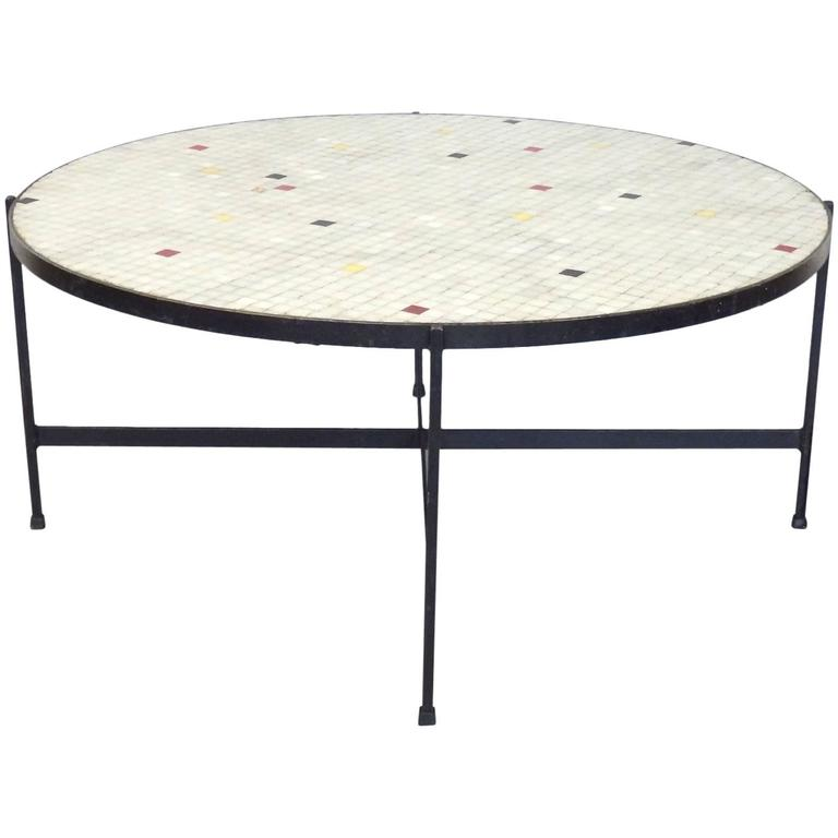 Black wrought iron with inset glass tile top coffee table for sale at 1stdibs Wrought iron coffee tables