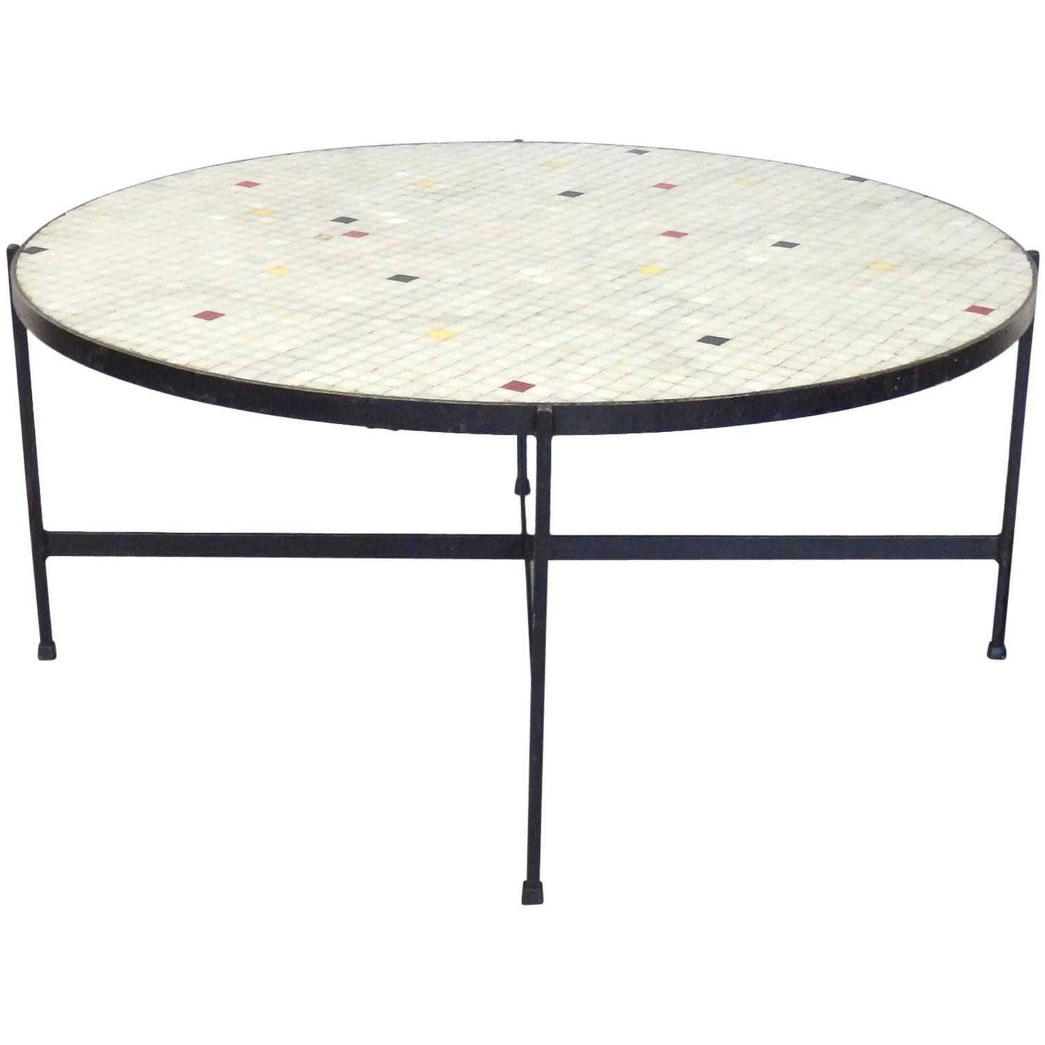 Freeform Coffee Table with Inset Quartz Top For Sale at 1stdibs