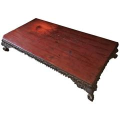 Burmese Table, 18th Century, Red Lacquer