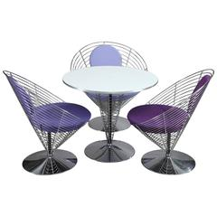 Three Wire Cone Chairs and Table Designed by Verner Panton, Late 1980s
