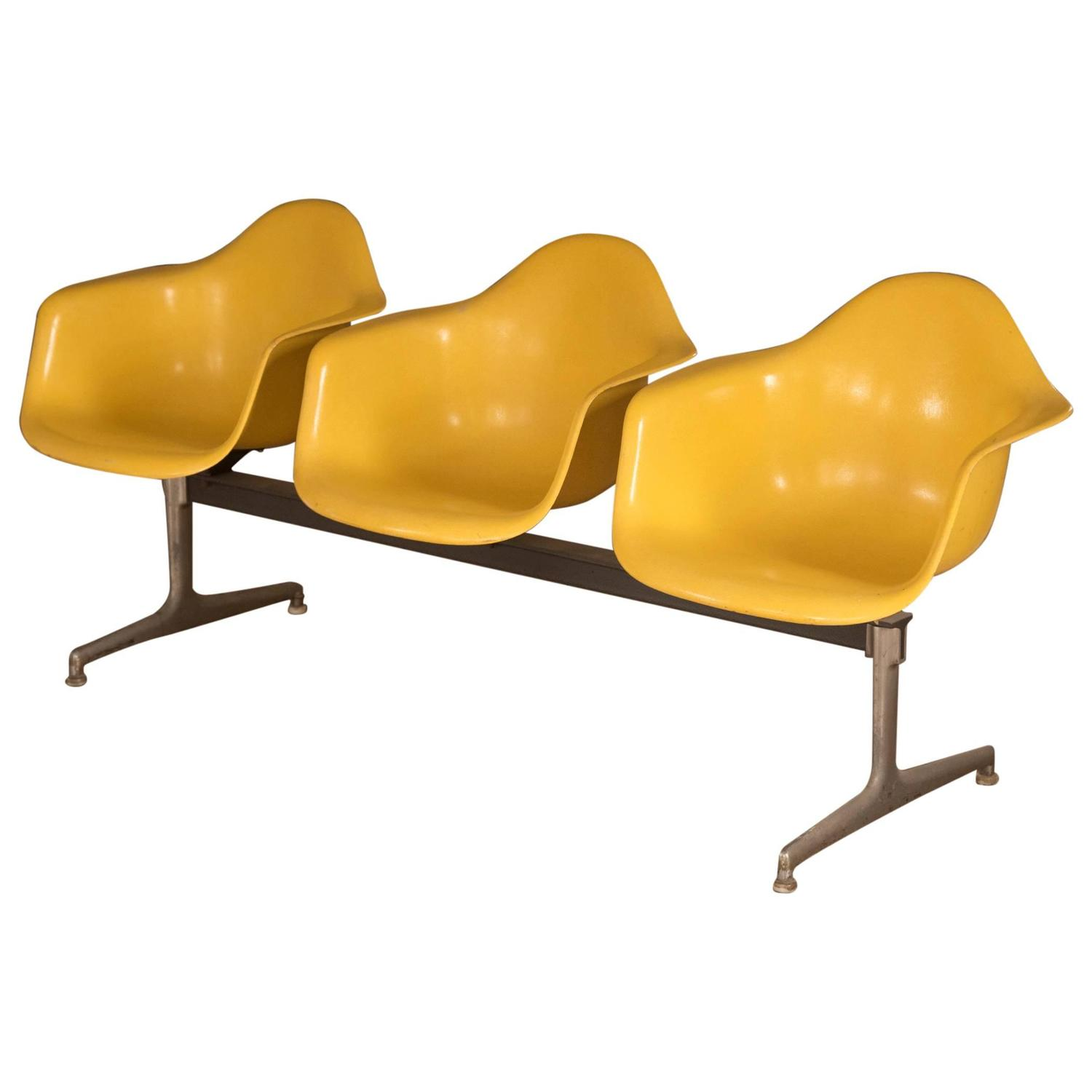 charles and ray eames three seat shell tandem chairs for herman miller at 1stdibs
